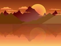 2D Berg op de Zonsondergangachtergrond Royalty-vrije Stock Afbeelding