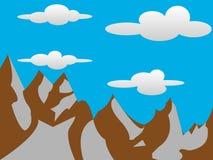2D Bergen met Wolkenachtergrond Royalty-vrije Stock Foto