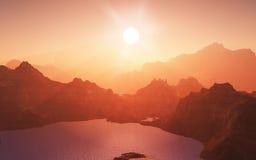 3D bergketenlandschap Stock Foto's