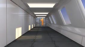 3d übertragen Futuristischer Raumschiffinnenraum Stockfotos