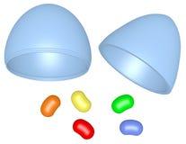 3d übertragen Plastik-Osterei mit Jelly Beans Lizenzfreies Stockfoto