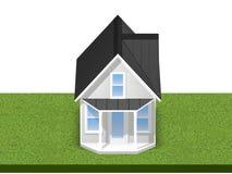 3D übertrug Illustration eines kleinen Hauses auf einer quadratischen grasartigen Parzelle oder einem Yard Lokalisiert über Weiß Lizenzfreies Stockfoto