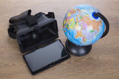 3d beschermende brillen of glazen met een wereld hierboven bol van Royalty-vrije Stock Afbeelding