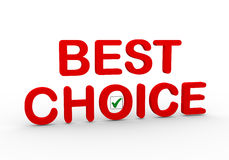 3d best choice with check mark. 3d illustration of text best choice with right tick check mark box Stock Photography