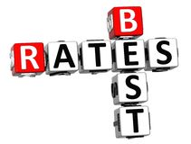 3D Best Today Rates Crossword Royalty Free Stock Image
