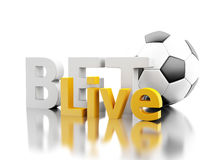 3d Bet live with a soccer ball. Betting concept. 3d renderer image. Bet live with a soccer ball. Betting concept. Isolated white background Stock Images