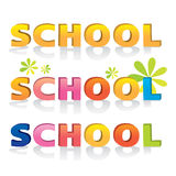 3d bevel cartoon text school typographic elements vintage isolat Royalty Free Stock Photo