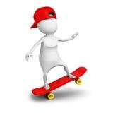 3d białej osoby przejażdżka na łyżwie z nakrętką ilustracji