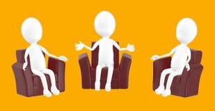 3d biały charakter, charakteru obsiadanie w kanapy krześle i opowiadać, royalty ilustracja