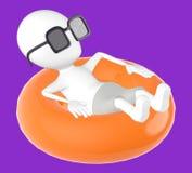 3d biały charakter na pławiku, relaksuje będący ubranym sunglass royalty ilustracja