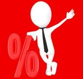 3d biały charakter opiera nad odsetka znakiem, dyskontowa sprzedaż Zdjęcie Stock
