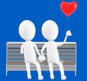 3d biały charakter, pary siedzi w ławce trzyma miłości szybko się zwiększać Fotografia Stock