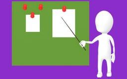 3d biały charakter trzyma kij i wskazuje je w kierunku zielenieje deskę z przypiętymi papierami Zdjęcia Stock