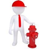 3d biały człowiek obok pożarniczego hydranta Zdjęcie Royalty Free