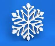 3d białych bożych narodzeń płatek śniegu odizolowywający na błękitnym tle royalty ilustracja