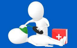 3d biały charakter, charakter robi CPR Obraz Royalty Free