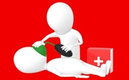 3d biały charakter, charakter robi CPR Zdjęcia Royalty Free