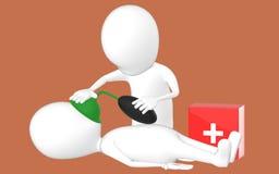 3d biały charakter, charakter robi CPR Obraz Stock