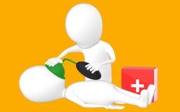 3d biały charakter, charakter robi CPR Fotografia Stock