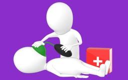 3d biały charakter, charakter robi CPR Obrazy Royalty Free