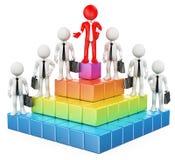 3D biali ludzie. Biznesowa hierarchia Zdjęcia Stock