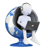 3D biali ludzie. centrum telefoniczne globalizacja Fotografia Stock