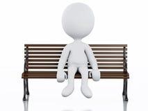 3d biali ludzie na Parkowej ławce ilustracji