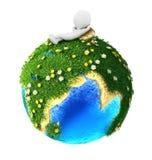 3d biali ludzie relaksujący na zielonej ziemi Zdjęcia Royalty Free