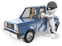 3D biali ludzie. Samochodowy złodziej royalty ilustracja