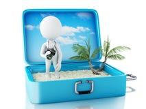 3d biali ludzie turystyczni z kamerą w podróży walizce Fotografia Stock