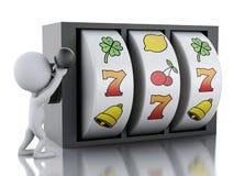 3d Biali ludzie z automat do gier Obraz Stock