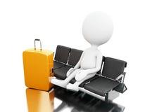 3d Biali ludzie z bagażu czekaniem na lotnisku ilustracja wektor