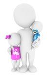 3d biali ludzie z jego dziećmi Zdjęcie Royalty Free