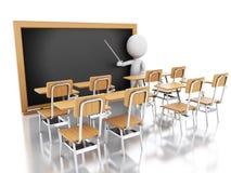 3d biali ludzie z krzesłami i chalkboard Ilustracja Wektor
