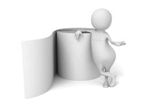 3d bianco Person With Toilet Paper Roll Immagine Stock