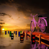 3d bicycle. 3d bicycle along the coast in the background Stock Photography