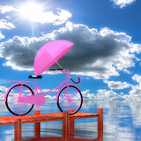 3d bicycle. 3d bicycle along the coast in the background Stock Images
