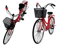 3d Bicycle. Digitally rendered image of a red bicycle on white background Royalty Free Stock Photo
