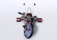 3D bicycle. 3D three wheels bike, decorated with sculls and bones Stock Photography