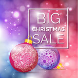 3D BIG Christmas Sale Text for Promotion with a Xmas Balls and C. Hristmas Decorations in Bokeh Background. Realistic Defocus Vector Poster Royalty Free Stock Image