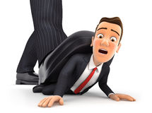 3d big foot crushing businessman. Isolated white background Stock Image