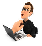 3d big hand catching hacker through a laptop. Illustration with isolated white background Stock Photos