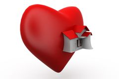 3d big heart home concept Royalty Free Stock Photo