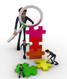 3d big man examine puzzle construction work of small men concept Stock Images