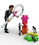 3d big man examine puzzle construction work of small men concept Royalty Free Stock Photos