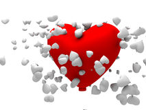 3d big red heart shapped balloon Stock Photos