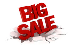 3d big sale text. On white background Royalty Free Stock Image