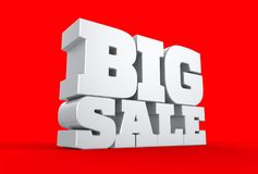 3d big sale word isolated over red background. 3d illustrating. 3d big sale word isolated over red background. 3d illustrating Stock Images