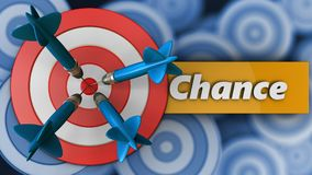 3d big taget with chance sign. 3d illustration of big taget with chance sign over many targets background Royalty Free Stock Photography