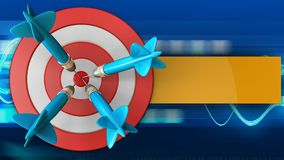3d big taget with four darts. 3d illustration of big taget with four darts over blue waves background Royalty Free Stock Photography